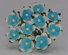TURQUOISE WHITE 2-LAYERED sweetheart blossom Mulberry Paper Flowers